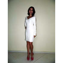 Lindo Vestido Inverno Importado Branco Com Renda Manga Longa