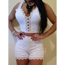 Conjunto Cropped E Short De Renda
