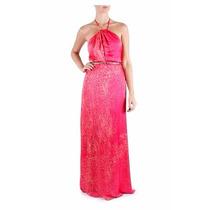 Vestido Longo Pink Arabesco Festa Casual Marca Tvz Etiqueta