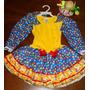 Vestido Festa Junina Caipira Infantil 02 A 12 Anos + Enfeite