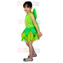 Fantasia Da Sininho - Vestido Fada Verde Tinker Bell Com Asa