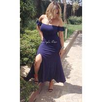 Vestidol Ongo Ciganinha Ombro Caído Com Fenda Na Perna