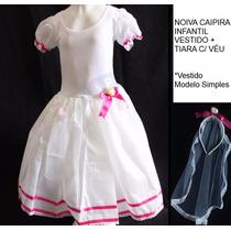 Vestido De Noiva Infantil Festa Junina Junino Mod. Simples