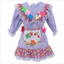 Vestido Infantil Lilás Caipira Para Festa Junina Arrase