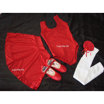 Kit Roupa Bailarina De Ballet Infantil 4 Anos Vermelha