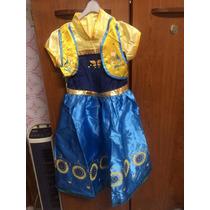 Fantasia Vestido Anna Fever Frozen 3 A10 Anos Pronta Entrega