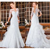 Vestido De Noiva Tipo Sereia Manga Comprida Maravilhoso 033