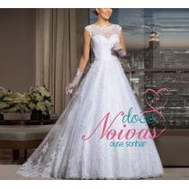 Vestido Noiva Longo Sarita Barato Renda Luxo Pronta Entrega