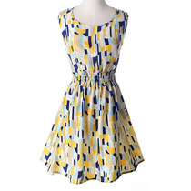 Vestido Primavera Verão Amarelo Azul Pronta Entrega Rodado P