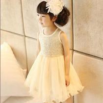 Vestido Festa Infantil Menina Paetê Tulê Creme Bege 3 Anos
