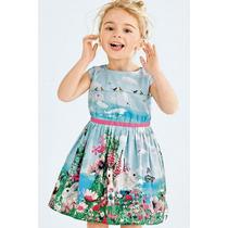 Vestido Infantil Importado Tecido Estampado Flores E Coelhos