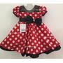 Vestido Fantasia Infantil Festa Minnie Vermelho Com Tiara