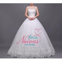 Vestido Noiva Princesa Gg Pérola Alça Pronta Entrega