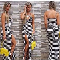 Vestido Longo Moda Blogueira Transpassado Fenda Na Perna!