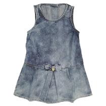 Vestido Infantil Jeans Trapézio C/babados E Corações Bran