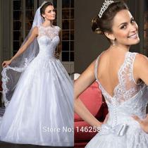 Vestido De Noiva Rodado Sem Manga De Renda Lindíssimo