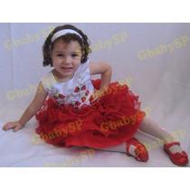 Vestido De Festa Infantil Moranguinho Modelo Luxo Princesa