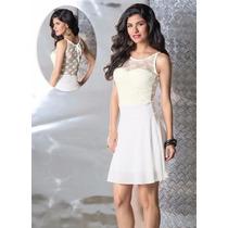 Vestido Feminino Evangélica Romântica Êvase Branco Renda