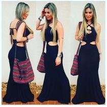 Vestido Longo Rabo Sereia Etnico Viscolycra Decote Costas