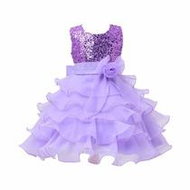 Vestido Infantil Criança Festa Aniversário Daminha Paetê
