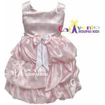 Vestido Infantil Festa Minnie Rosa Com Tiara