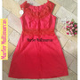 Vestido Vermelho Tecido Com Renda Guipir E Ziper Nas Costas