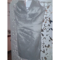 Vestido Importado Tafetá C/ Elastano Prata