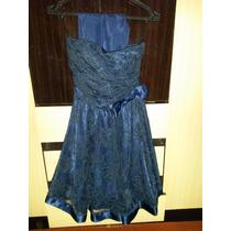 Vestido Azul Para Festas Bordado Usado Apenas Uma Vez