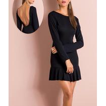 Vestido Curto Manga Longa Preto Com Decote Nas Costas