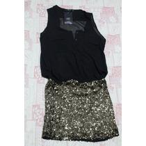 Lindo Vestido Zara De Crepe + Paete Dourado M Com Etiqueta