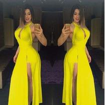 Vestido Longo Decotado C/ Bojo E Shorts Comprido Amarelo
