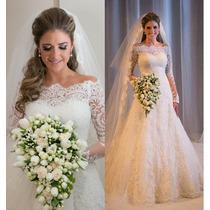 Vestido De Noiva/casamento Branco Manga Comprida Em Renda