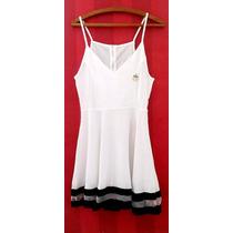 Vestido Navy Branco Sem Manga Tamanho Pp