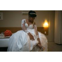 Vestido De Noiva Completo C/ Armação, Véu E Cinto De Pérolas
