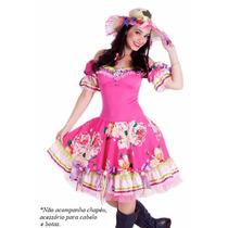 Vestido Junino Adulto Fantasia Festa Junina Caipira - Luxo