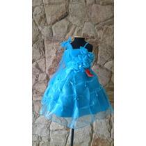 Vestido Infantil Festa Flores Azul Elsa Cinderela