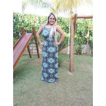 Vestido Longo Babado C/ Fenda Lateral - Lindo E Perfeito !!!