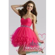 Vestido Noiva Debutante Curto Rosa Pink Pronta Entrega