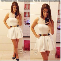 Lindo Vestido Branco Com Tule Panicat Rodado - Importado