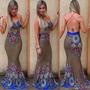 5 Peças No Atacado - Vestido Longo Sereia Com Bojo Decote