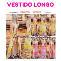Vestido Longo Short Com Fenda Estampa Lateral Carnaval Novo