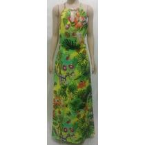 Vestido Longo Estampado Tecido Em Crepe Flores