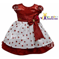 Vestido De Festa Infantil Moranguinho De Luxo Com Tiara