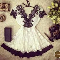 Lindo Vestido Em Renda Com Aplicaçao 2016