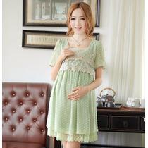 Vestido Para Gestante Grávida Maternidade Verde De Chiffon