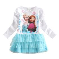 Vestido Elsa Anna Frozen Saia Tutu Pronta Entrega