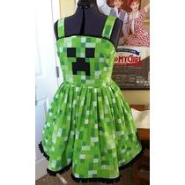 Vestido Minecraft Creeper Feminino Cosplay Adulto E Infantil