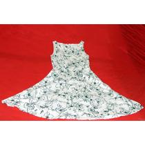Frete Grátis -vestido Em Tecido Branco Com Estampas Em Preto