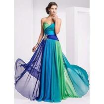 Vestido De Festa Verde E Azul Aplicação Strass Luxuoso