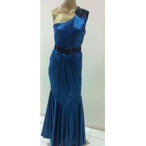 Vestido Festa/formatura/madrinha Azul Com Cinto
